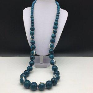 Dana Buchman Teal Acrylic Long Beaded Necklace